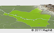 Physical Panoramic Map of Wasit, semi-desaturated