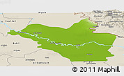 Physical Panoramic Map of Wasit, shaded relief outside