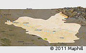 Satellite Panoramic Map of Wasit, darken