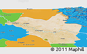 Satellite Panoramic Map of Wasit, political outside