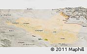 Satellite Panoramic Map of Wasit, semi-desaturated
