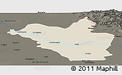 Shaded Relief Panoramic Map of Wasit, darken