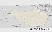 Shaded Relief Panoramic Map of Wasit, desaturated
