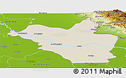 Shaded Relief Panoramic Map of Wasit, physical outside