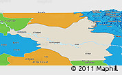 Shaded Relief Panoramic Map of Wasit, political outside