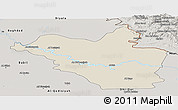 Shaded Relief Panoramic Map of Wasit, semi-desaturated