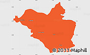 Political Simple Map of Wasit, single color outside