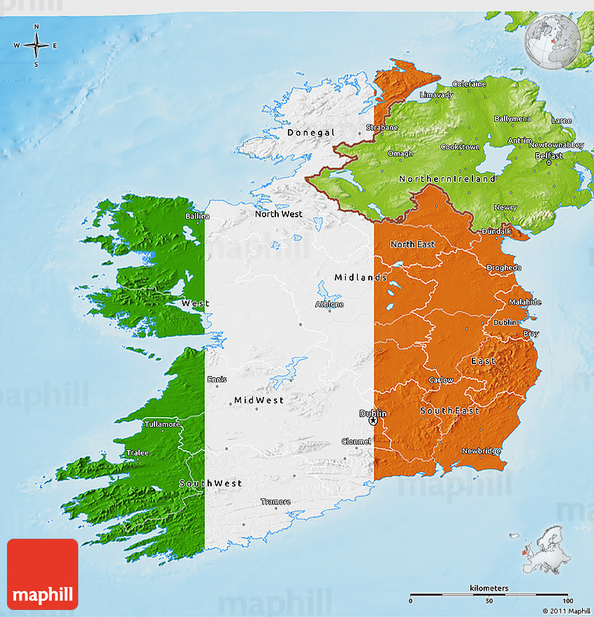 Flag D Map Of Ireland Physical Outside - Ireland physical map