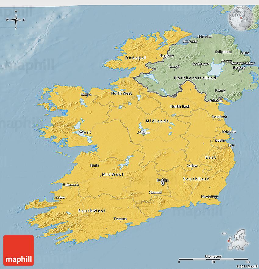 Map Of Ireland 3d.Savanna Style 3d Map Of Ireland