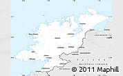 Silver Style Simple Map of Donegal