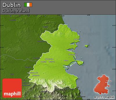Free Physical Map Of Dublin Darken - Ireland physical map