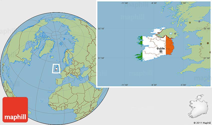 Flag Location Map of Ireland, savanna style outside