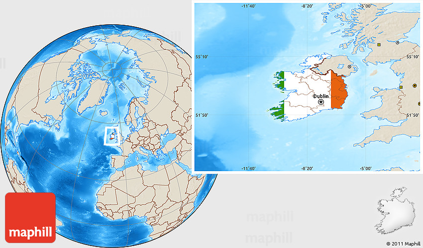 Flag Location Map of Ireland, shaded relief outside