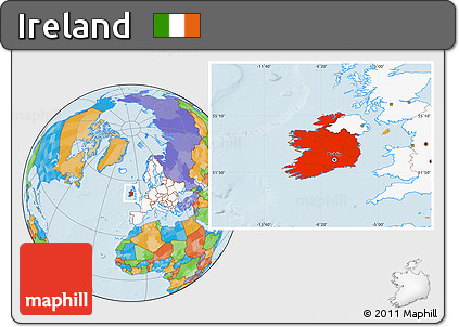 Free Political Location Map of Ireland, highlighted continent