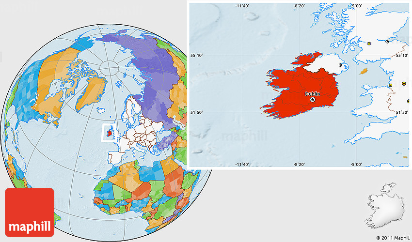 Political location map of ireland highlighted continent 2d gumiabroncs Image collections