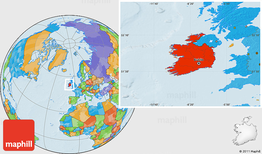 Political Location Map of Ireland