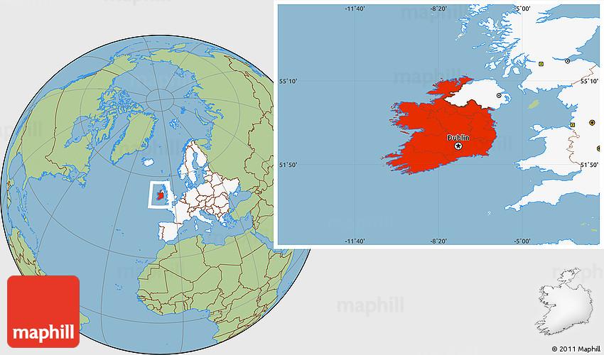 Savanna Style Location Map Of Ireland Highlighted Continent