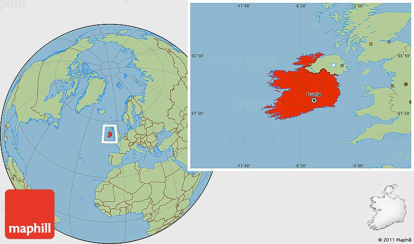 Savanna Style Location Map of Ireland