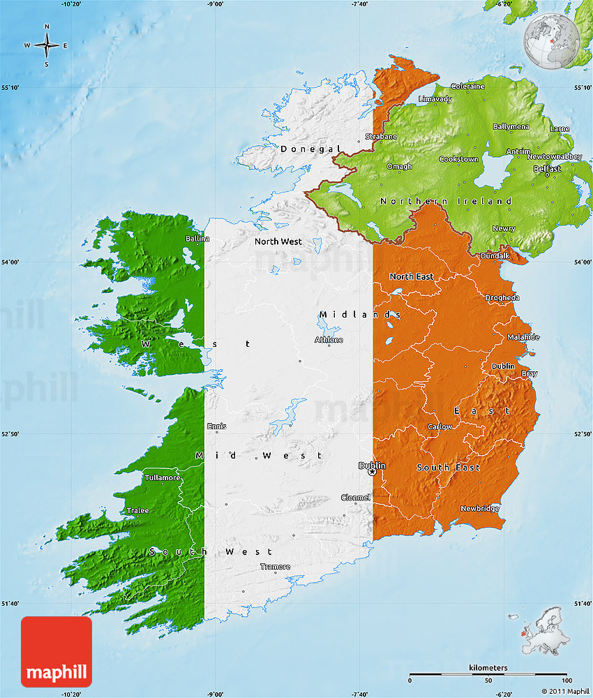 Flag Map Of Ireland Physical Outside - Physical map of ireland