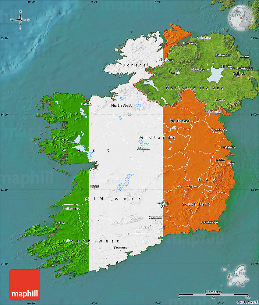 Flag Map of Ireland, satellite outside Ireland Maps on