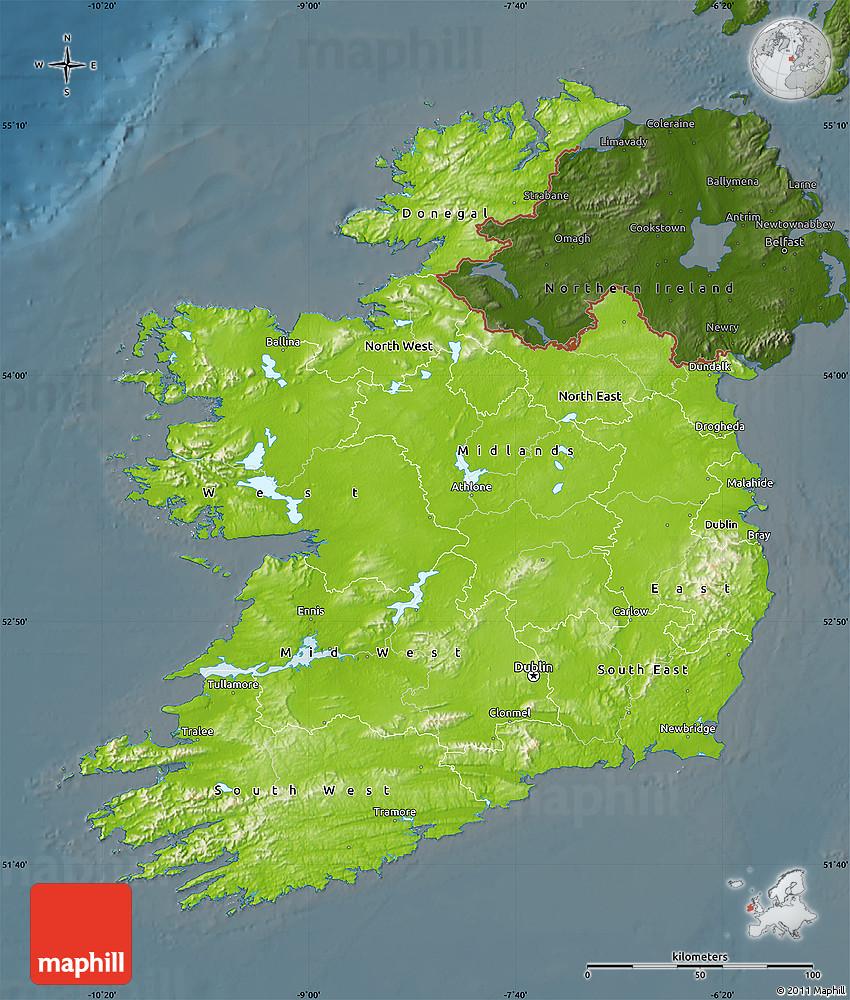Physical Map Of Ireland.Physical Map Of Ireland Darken