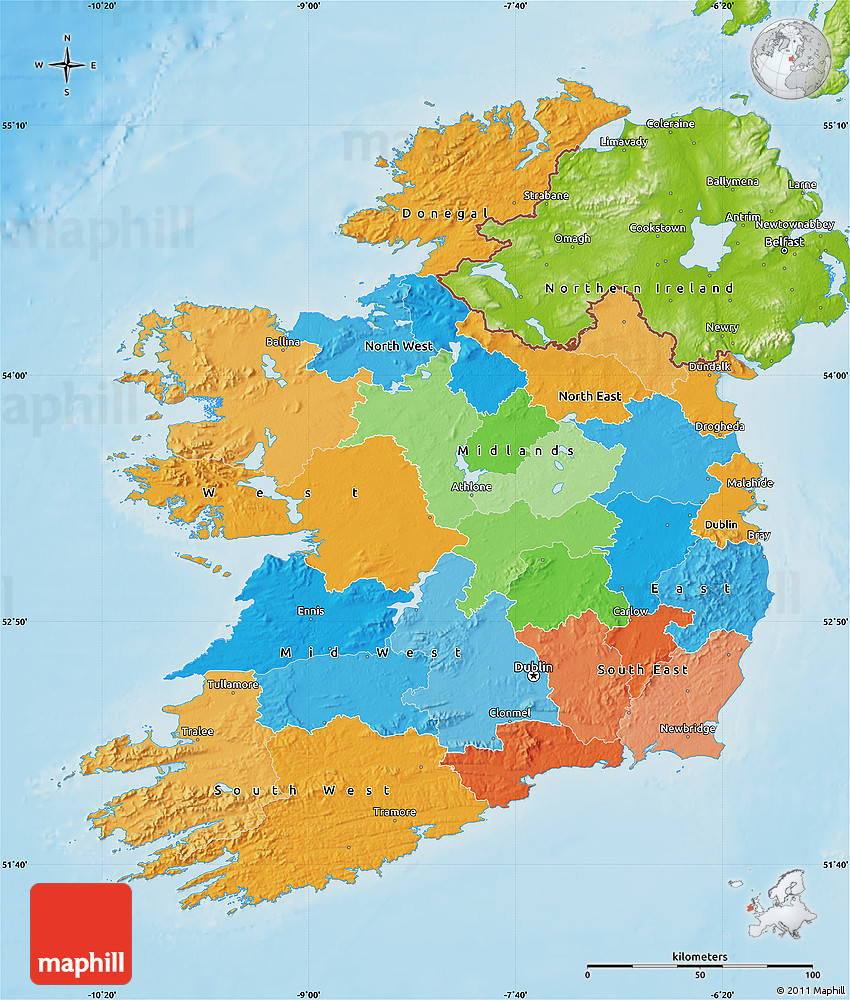 Simple Physical Map Of Ireland