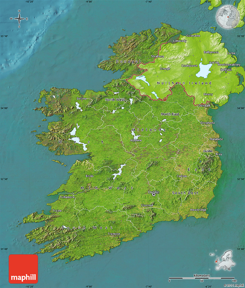 Satellite Map Of Ireland.Satellite Map Of Ireland Physical Outside Satellite Sea