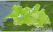 Physical Map of Mid West, darken