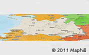 Shaded Relief Panoramic Map of Mid West, political shades outside