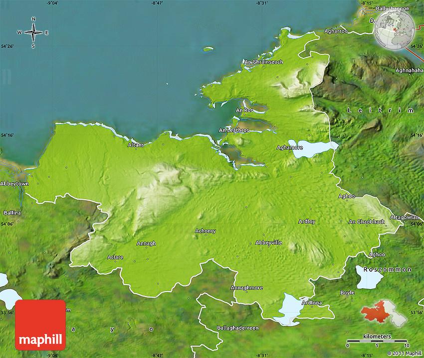 Map Of North West Ireland.Physical Map Of Sligo Satellite Outside
