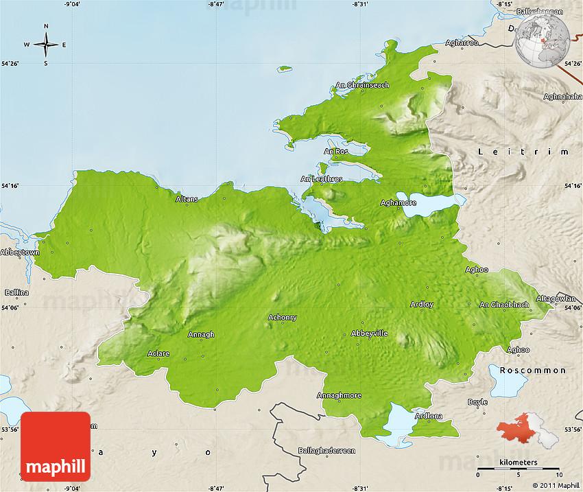 Sligo Map Of Ireland.Physical Map Of Sligo Shaded Relief Outside