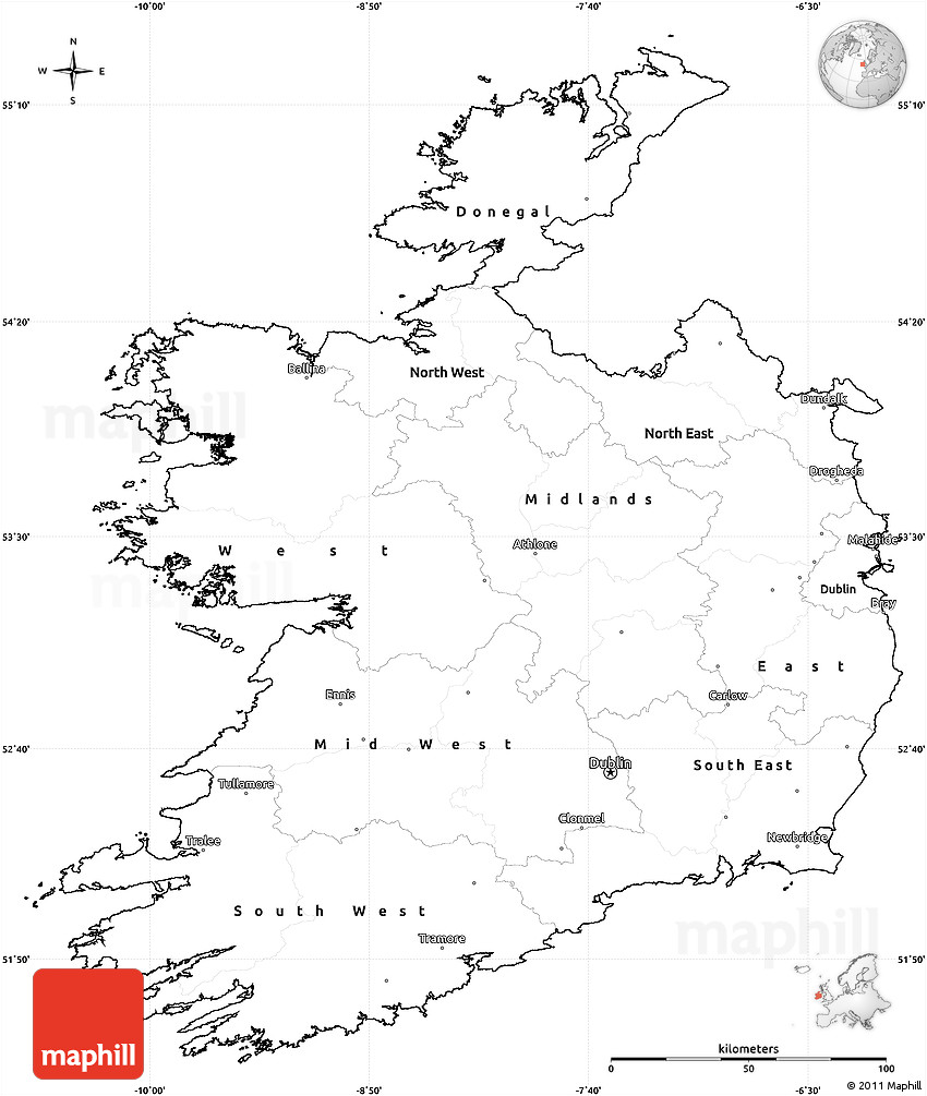 Blank Simple Map of Ireland, cropped outside