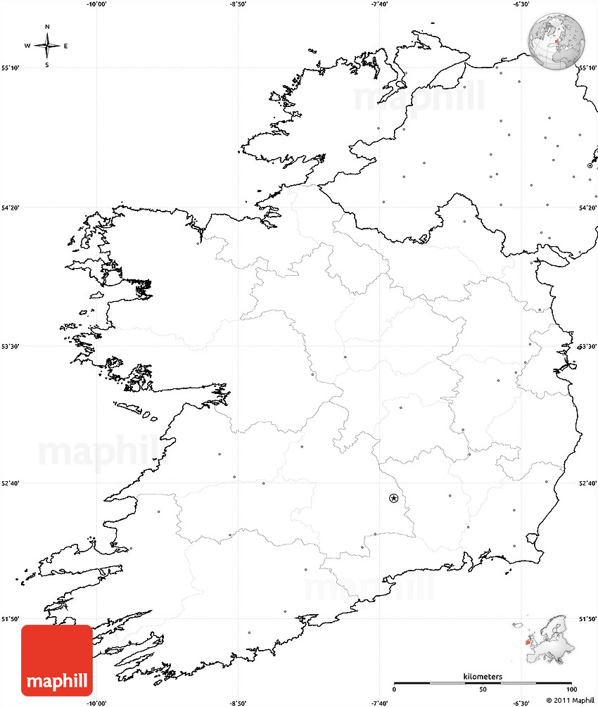 Blank Simple Map of Ireland, no labels
