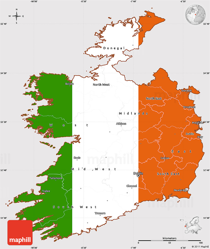 flag simple map of ireland
