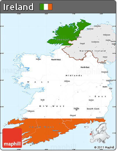 Free Flag Simple Map of Ireland single color outside borders and