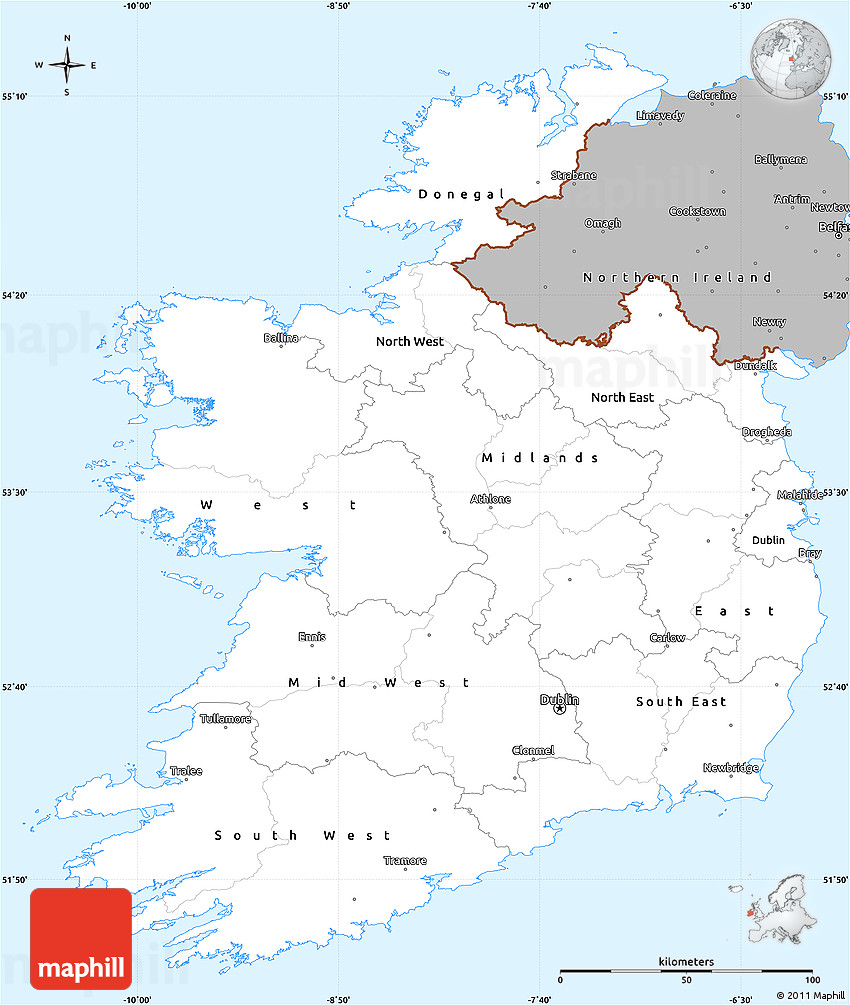 Simple Map Of Ireland.Gray Simple Map Of Ireland