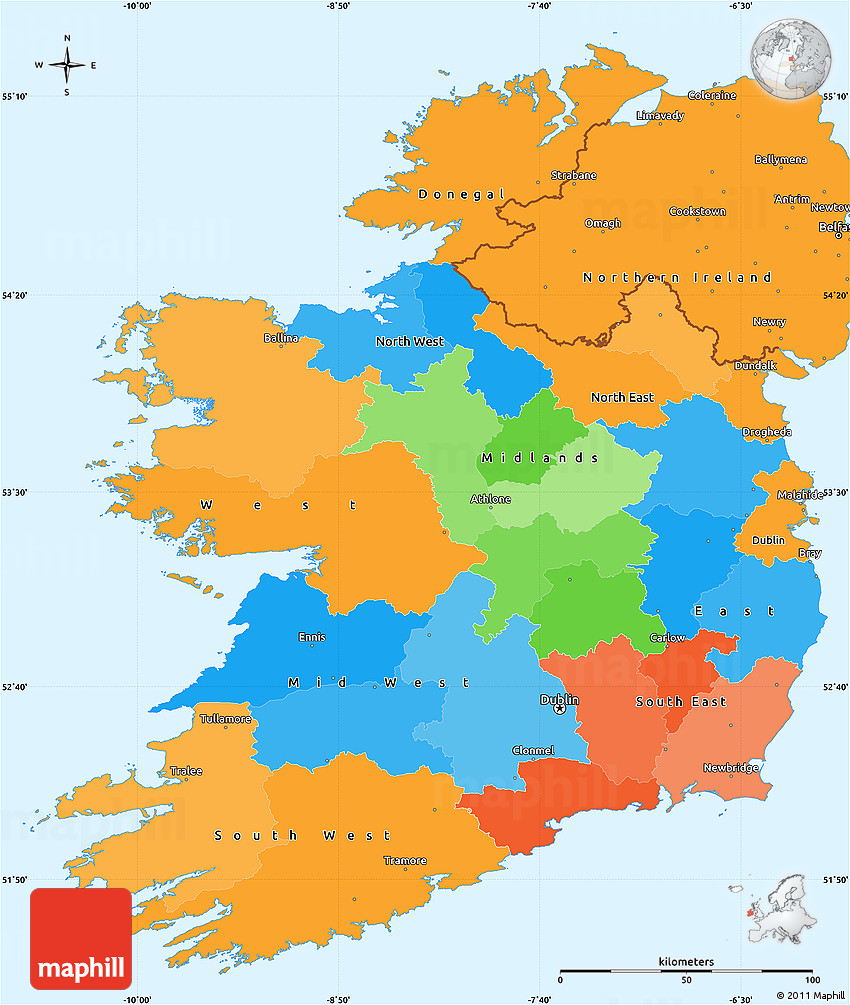 Political Simple Map Of Ireland - Ireland political map
