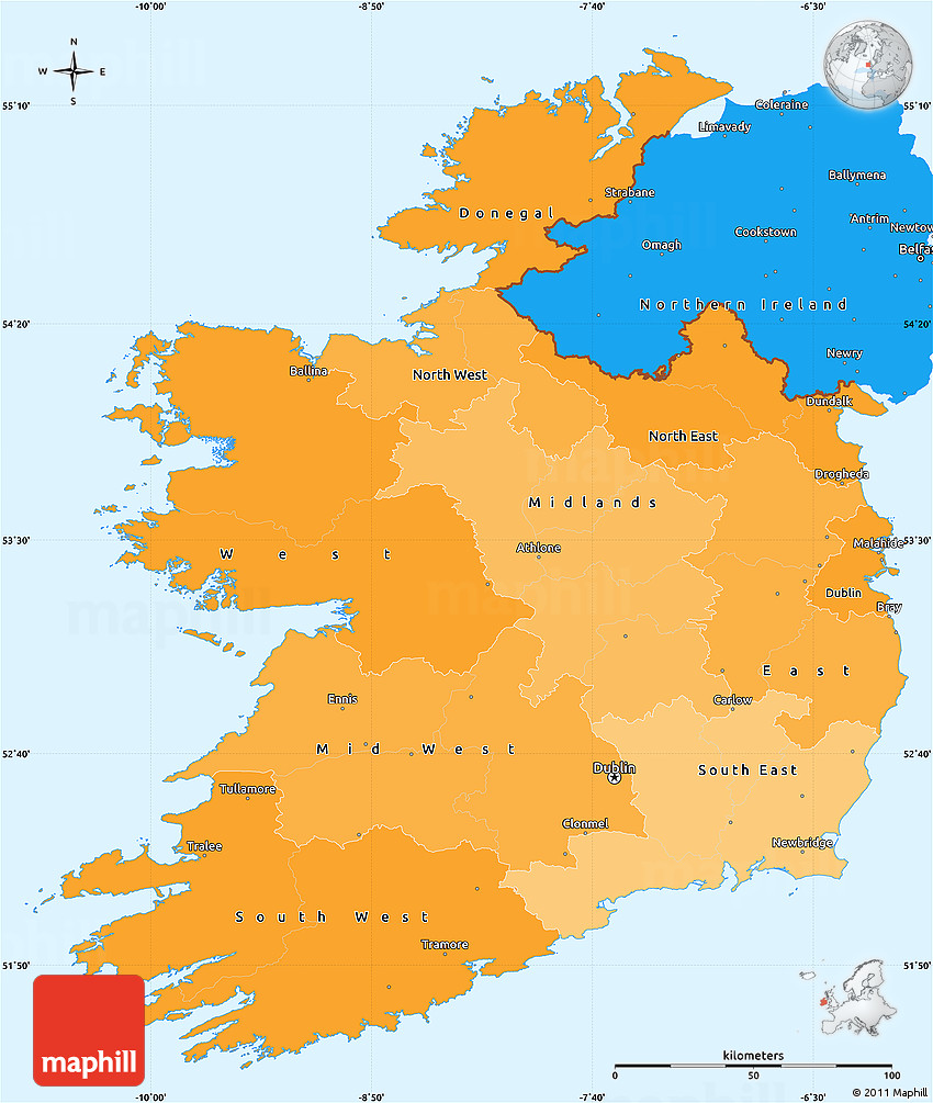 Political Shades Simple Map Of Ireland - Ireland political map