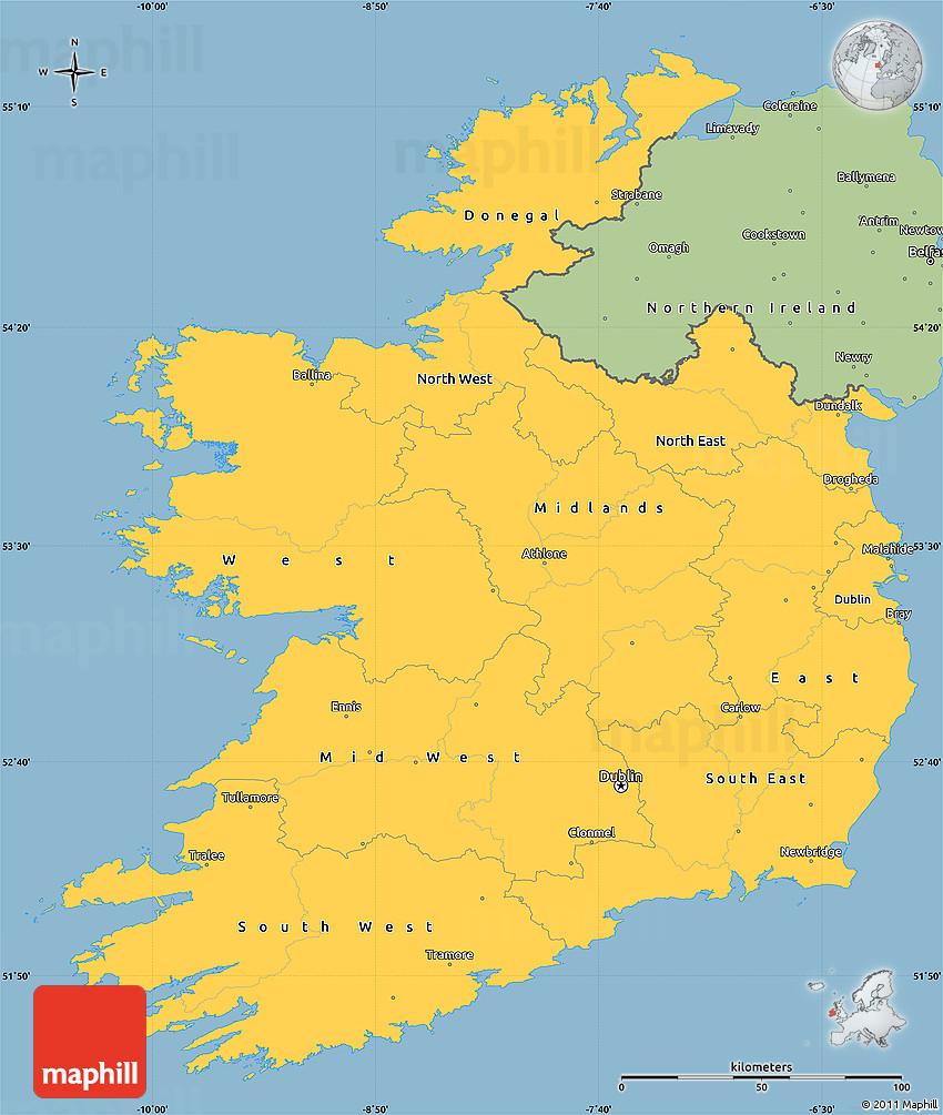 Simple Map Of Ireland.Savanna Style Simple Map Of Ireland