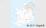 Silver Style Simple Map of Ireland