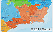 Political Shades 3D Map of South East