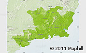 Physical Map of South East, lighten