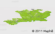 Physical Panoramic Map of South East, cropped outside