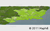 Physical Panoramic Map of South East, darken