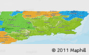 Physical Panoramic Map of South East, political outside