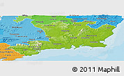 Physical Panoramic Map of South East, political shades outside