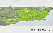 Physical Panoramic Map of South East, semi-desaturated