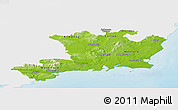 Physical Panoramic Map of South East, single color outside