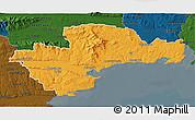 Political 3D Map of Waterford, darken