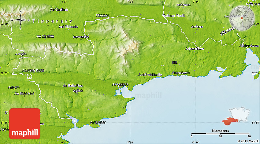 Map Of Waterford Ireland.Physical Map Of Waterford
